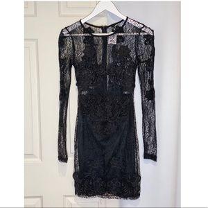 Formal black lace up dress